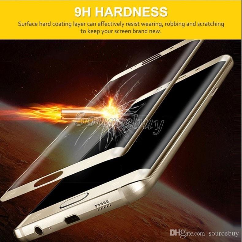 لسامسونج غالاكسي s7 s6 حافة s7 s6 حافة + الجبهة الزجاج المقسى حامي الشاشة فيلم 3d منحني غطاء كامل 9 h صلابة مجانية