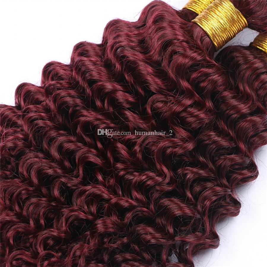 Бордовый 99J глубокая волна волос 3 пучки с кружевом фронтальной 13x4 9a класса глубокие вьющиеся человеческих волос расширение с уха до уха фронтальный