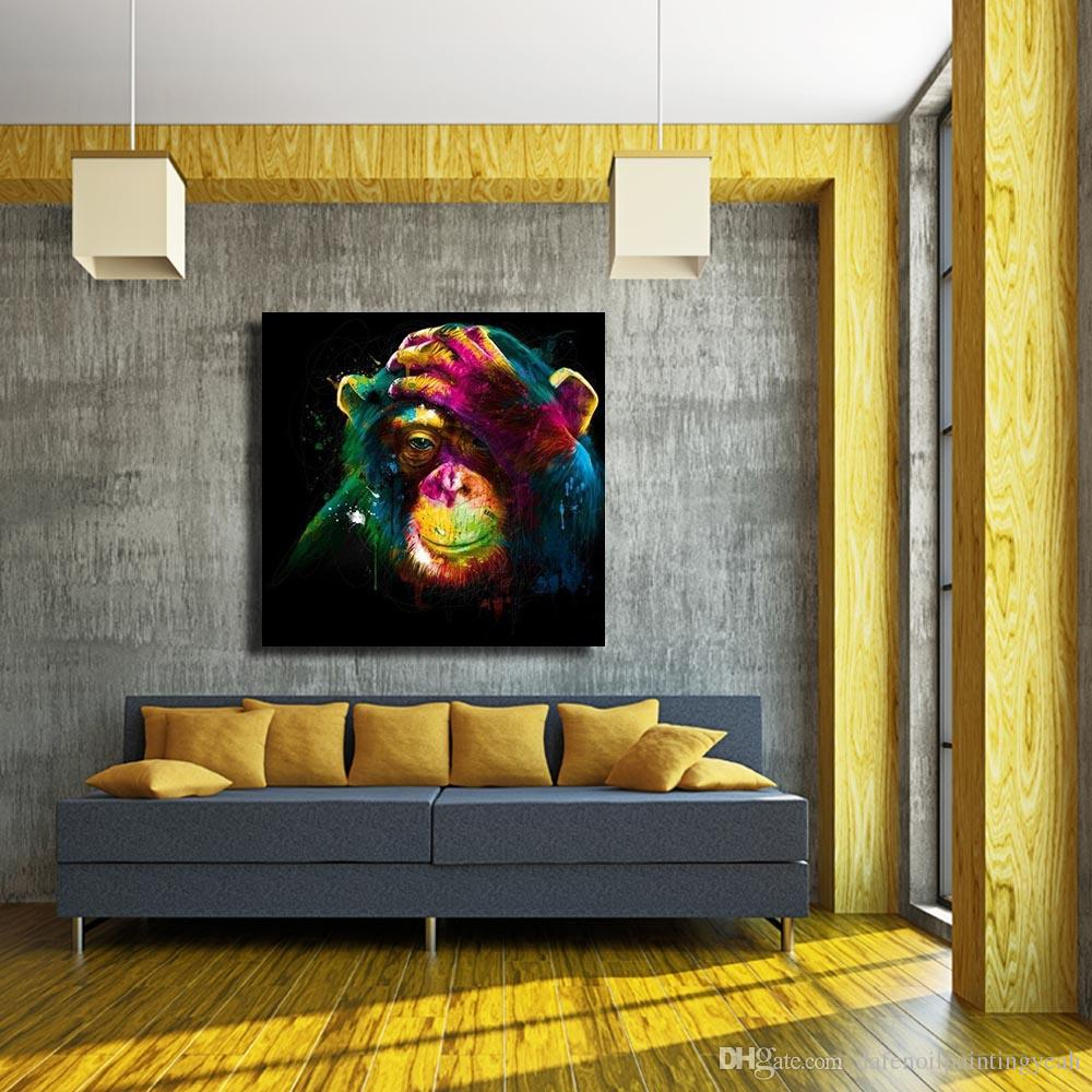 Wall Design Animal Art Painting for Living Room Wall Hand Painted Oil Painting Home Decor Wall Pictures Modern Canvas Art No Framed