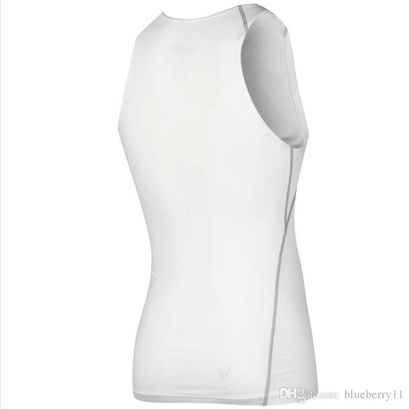 Mode Hommes Compression Respirant Gilet Chemises Base Ligne Noir Blanc entraînement Fitness Sans Manches Chemise Bodybuilding Débardeurs S-2XL