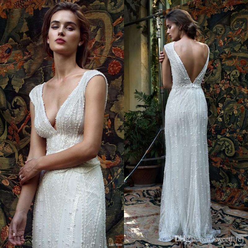 Discount Lihi Hod A Line Pearls Beaded Sleeveless Wedding Dresses