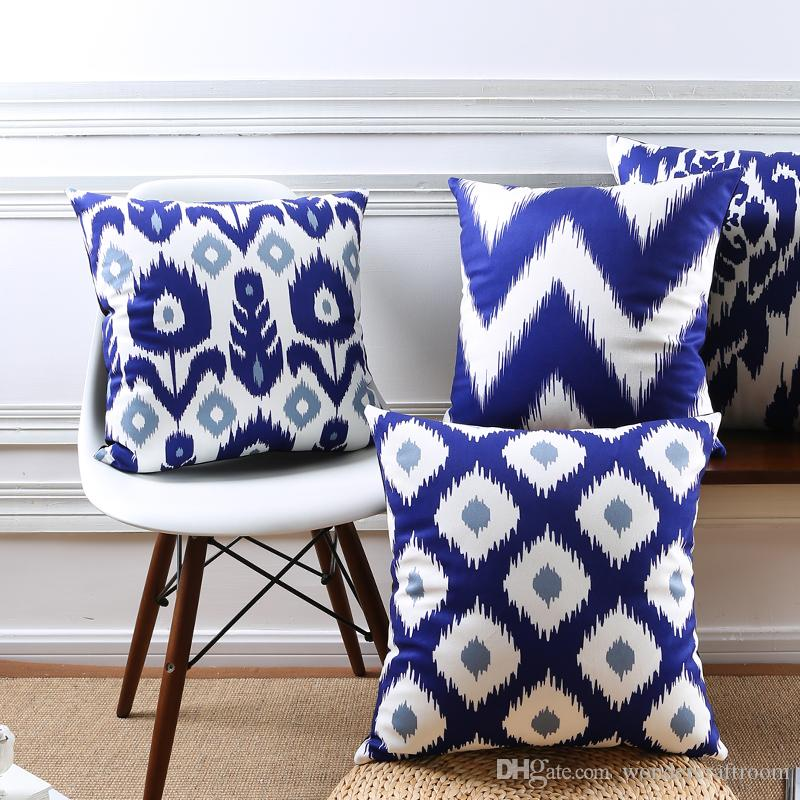 Abstract Geometric Chevron Stripe Floral Cushion Covers Nordic Blue - Decorative-floral-print-chairs-from-floral-art