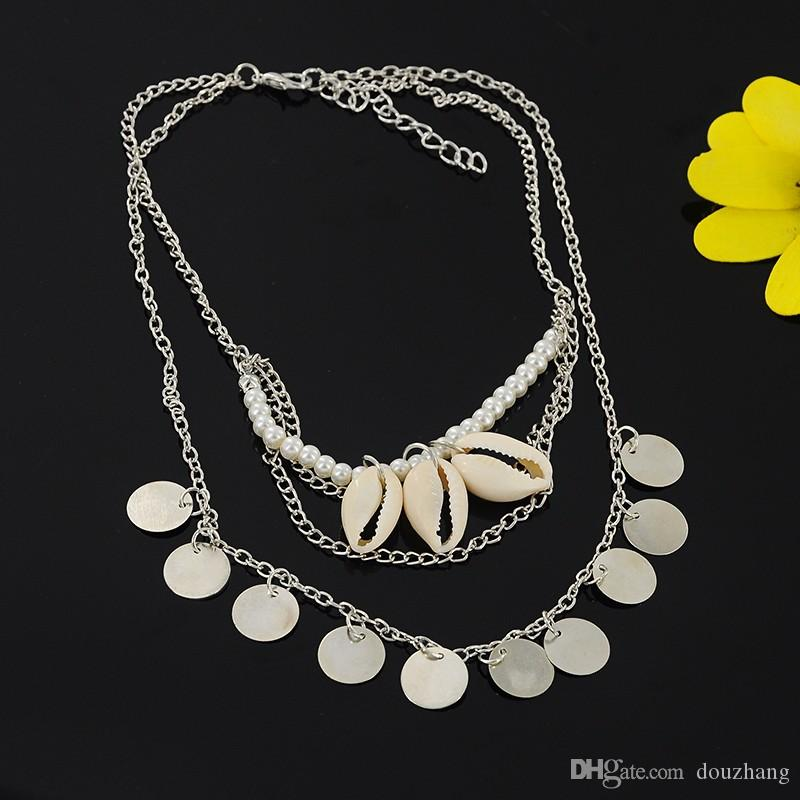 Gypsy Ethnic Charm Conch Shell Perle Simulator Collier Ras Du Cou Rond Sequin Tassel Pendentifs Colliers