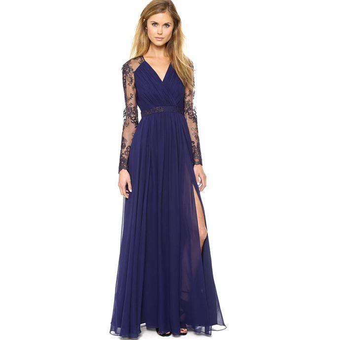 Vestidos Partido Summer Fashion Sexy Mulheres Pescoço V Lace luva Chiffon Maxi vestido azul plissado Saias de cintura alta Dividir vestido longo