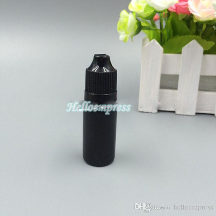 10 ML PE COLORE NERO Bottiglia di plastica con contagocce, a prova di bambino, con protezione sicura bambini Caps, bottiglie squeezable nere 10ml