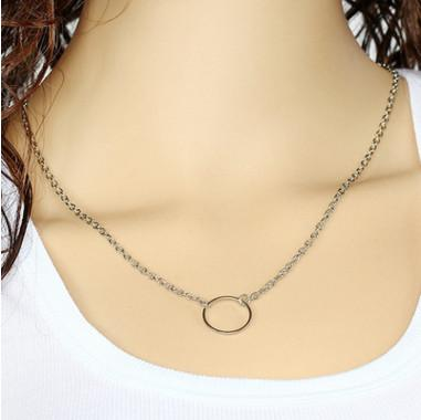 Neckalce Chain Jewelry Fashion Women Brief Gold Silver Plated Alloy Circle Chain Choker Necklaces Jewelry Wholesale Drop Shipping SN674