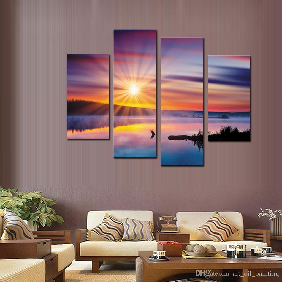 Wall Art Painting Lake And Cloud in The Sunshine Landscape Pictures Prints On Canvas For Home Modern Decor Or As Gift