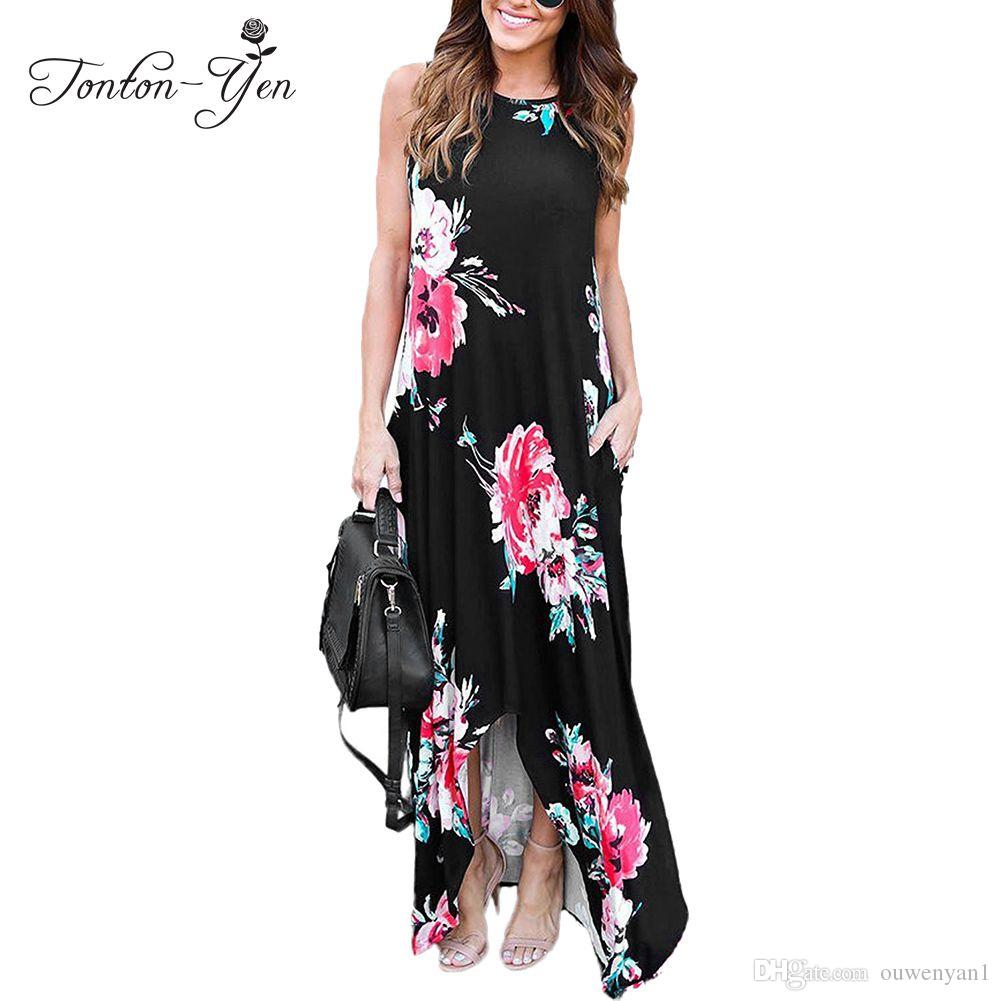 2017 Summer Women Dress Long Beach Dress Big Sizes Irregular Beach Clothing Femme Plus Size Long Dresses Summer Flower Sundress