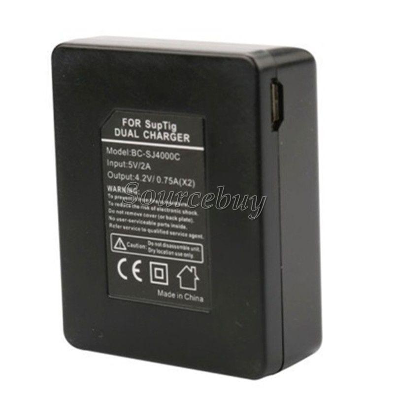 Battery Charger For SJCAM SJ4000 SJ5000 M10 Double Ports Mini USB Cable EKEN H9 Series Action Sports Cameras Accessories