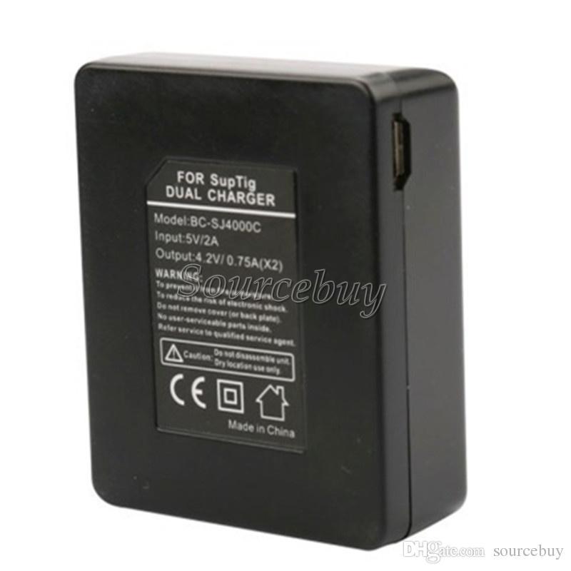 Dupla Portas Duplas Mini Carregador de Bateria de Cabo USB Para SJ4000 SJ5000 M10 H9 W9 Série A9 Ação Câmeras Esportivas Acessórios Bateria EKEN SJCAM
