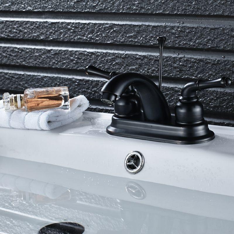 Bathroom Basin Faucets Washing Basin Faucet Dual Handles Sink Mixer Taps W/Pop-up Drain Oil Rubbed Bronze Finish