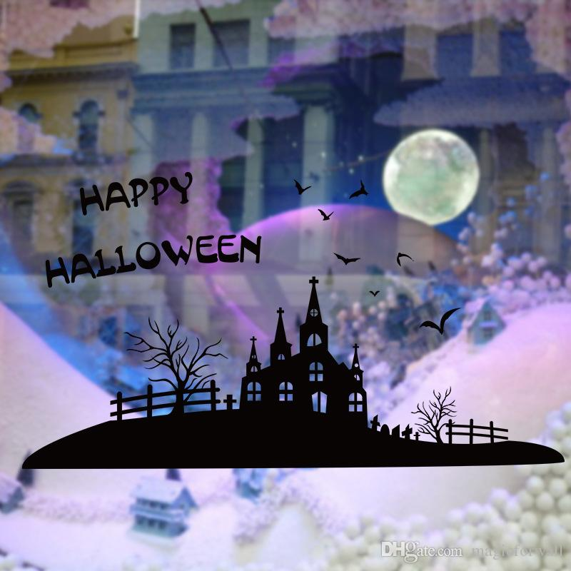 Removable Halloween Decoration Wall Stickers Black Castle Fence Bat Tree Wall Appliques Window Glass Decor Festival Decoration Wallpaper Art