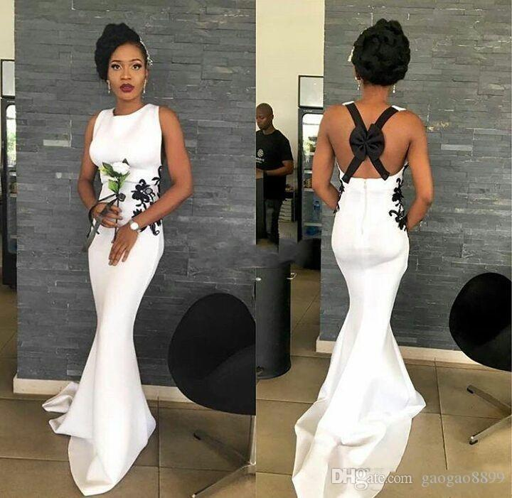 Sexy Long Bridesmaid Dresses 2017 Cheap White Dress with Black Lace Cross Back Bow Lace Mermaid Satin Women Wedding Guest Evening Gowns