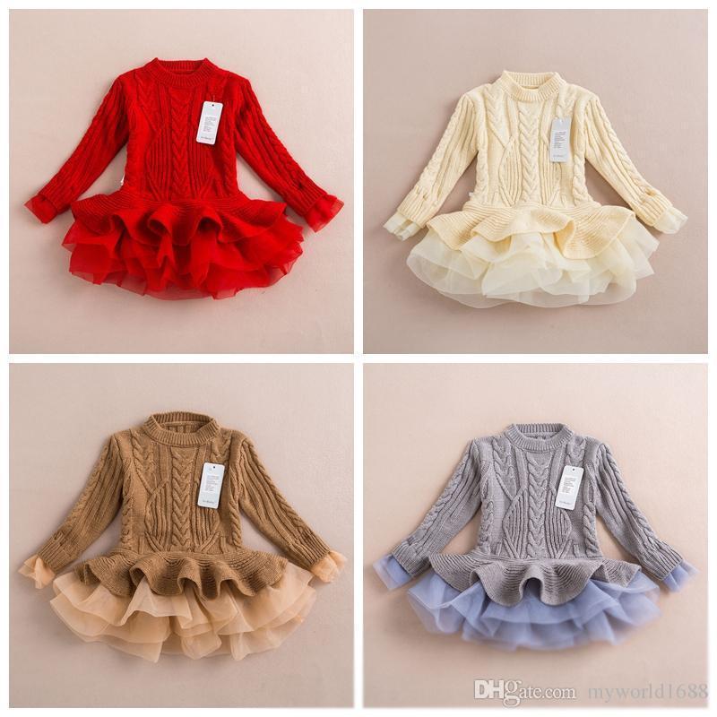 187c8f66b7e7 Fedex / DHL geben Frühlings-Winter-Kind-Kind-Mädchen-Strickpullover-Kleider  Baby-Tüllspitze TUTU-Winterprinzessin-Pullover-Pullover-Kleid frei