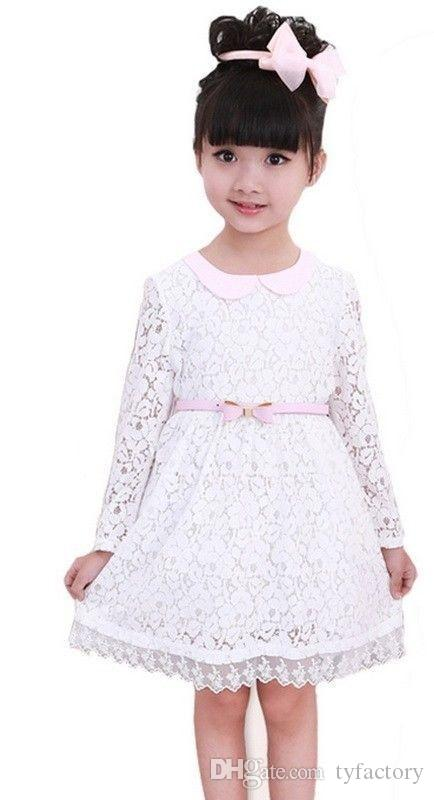 2016 sweet dress for a girl Baby kids Girls Fairy Princess Wedding Party dresses Flower Belt Lace Gown cute vestidos hot selling beach set