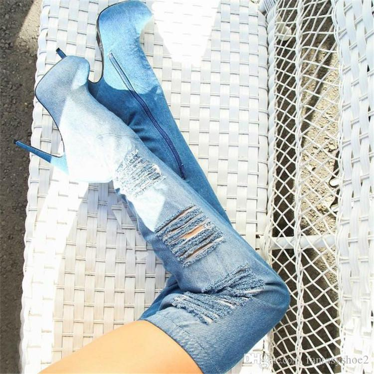 Denim Blue Jeans Patchwork Thigh High Boots Lace Decor Tear Cut Outs Stiletto Heel Zippered Platform Botas Mujer