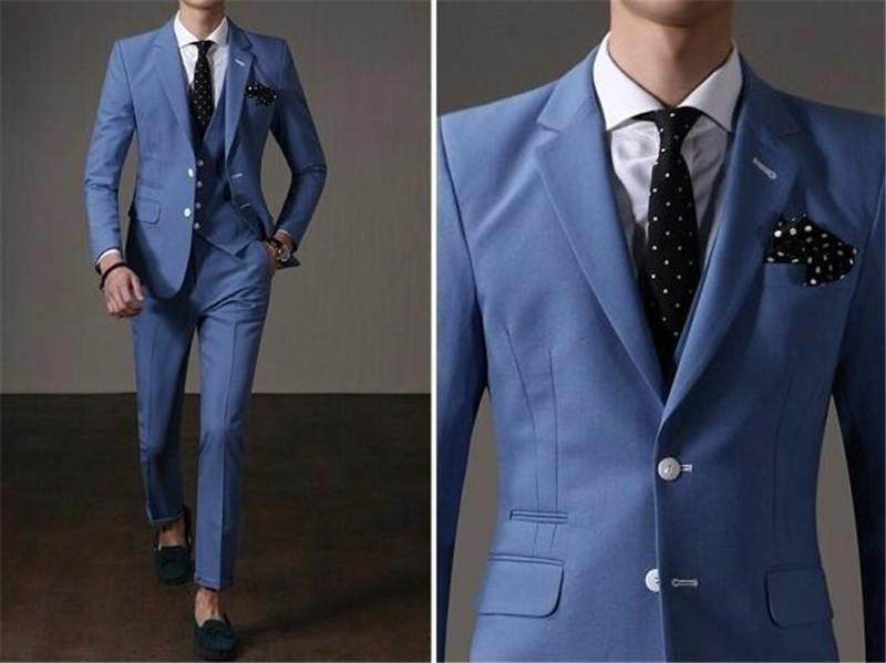 Best 2016 Handsome Business Suit Casual Mens Wear Sky Blue Suit ...