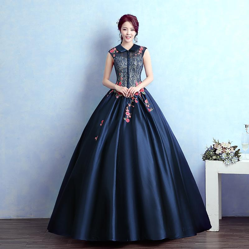 Peterpan Collar Royal Blue Lace Gown Medieval Dress Renaissance Gown ...