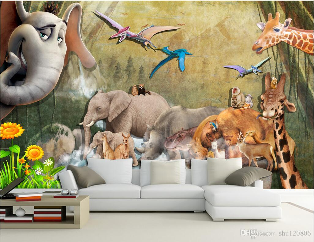 3d room wallpaer custom mural photo animal background wall elephant giraffe decoration painting. Black Bedroom Furniture Sets. Home Design Ideas