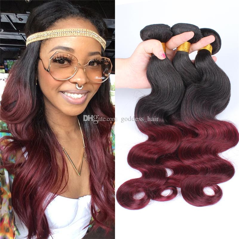 Ombre Color Hair Body Wave 1b99j Wine Red Ombre Hair Weaves 3