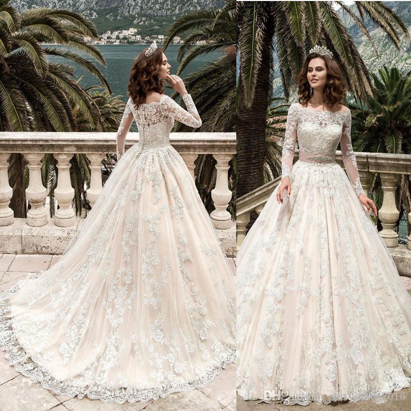 Compre 2017 Botones Vestido De Novia Vestido De Bola Vestido De ...
