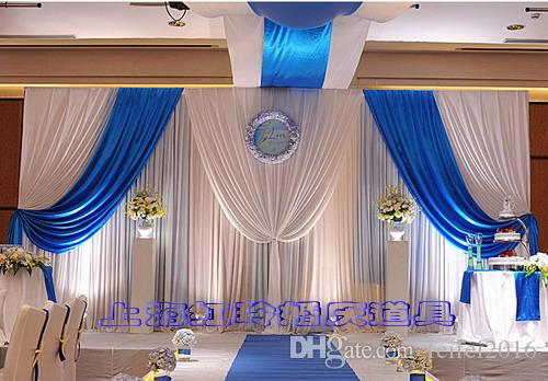 Dhl Wedding Backdrop Curtains With Royal Blue Swags Wedding Stage ...