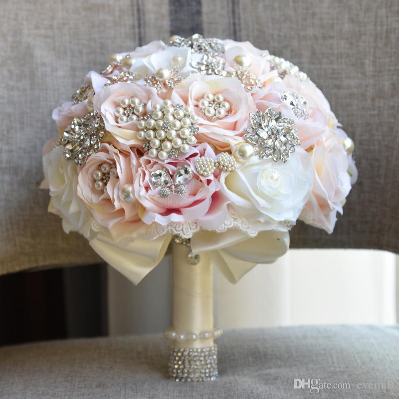 Jane Vini Champagne Künstliche Kristall Strass Brautstrauß Brosche Luxus Hochzeit Blumen Brautsträuße Ramo De Flores Novia 2018