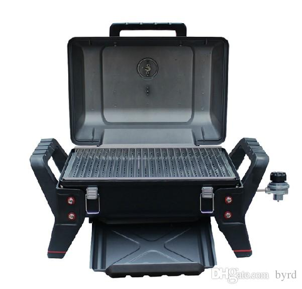 Portable gas grill yacht car travel BBQ 62*43*39 cm has thermometer pressure reducing valve bottom oil pan 006
