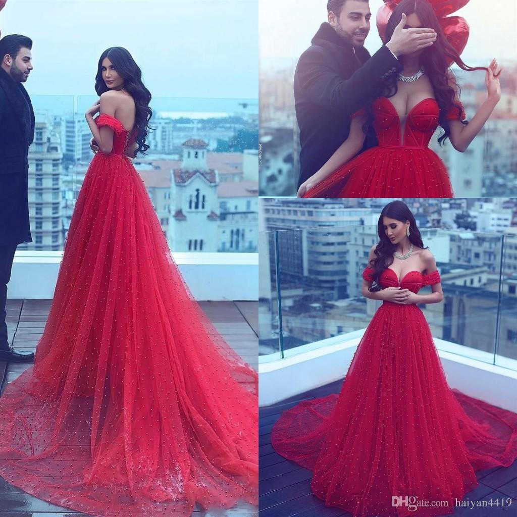 85816f0054f Evening Dresses 2017 New Off Shoulder Sweetheart Dark Red Tulle Pearls  Backless Long Formal Dubai Abaya Party Dress Plus Size Prom Gowns Evening  Dresses ...