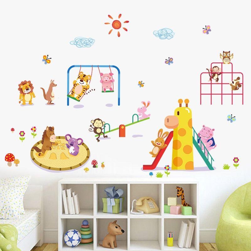 Animals Paradise Wall Stickers Kids Boys Babies Girls Room Nursery Wall Decals Lion Rabbit Monkey Tiger Kangaroo Butterfly Pig Zoo Paradise