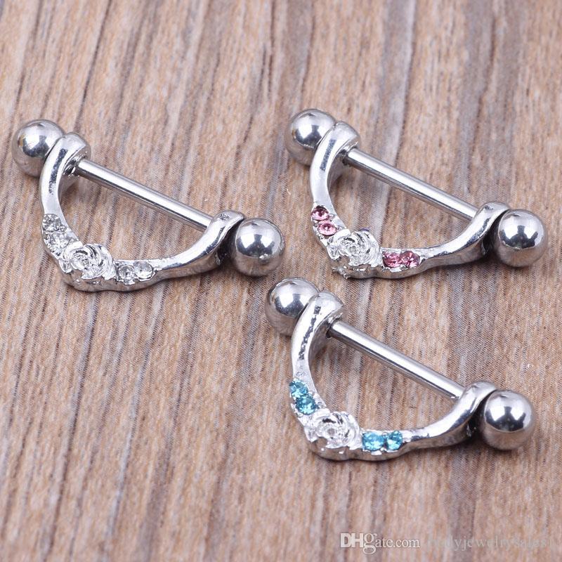 Meme halkası vücut piercing moda takı 14G 316L cerrahi çelik çubuk Nikel-ücretsiz YENI tasarım kadın için 3 renk mix