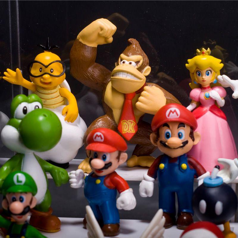 Super Mario mini figura bonecas PVC dinossauro yoshi kong cogumelo ação figues jogo brinquedos para crianças presente de Natal 100108