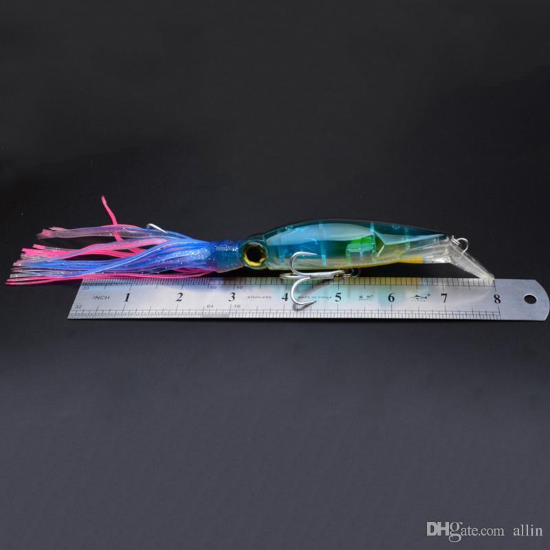 14см 40г Рыбалка Приманки Приманки Приманки Squid 3D глаза Борода приманок рыбалки приманки Хук высокого качества