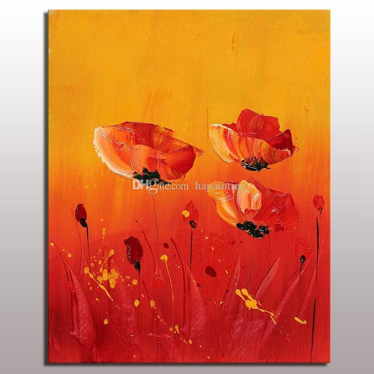 Customized size home decor canvas wall hanging art designs picture acrylic texture abstract red flower oil painting