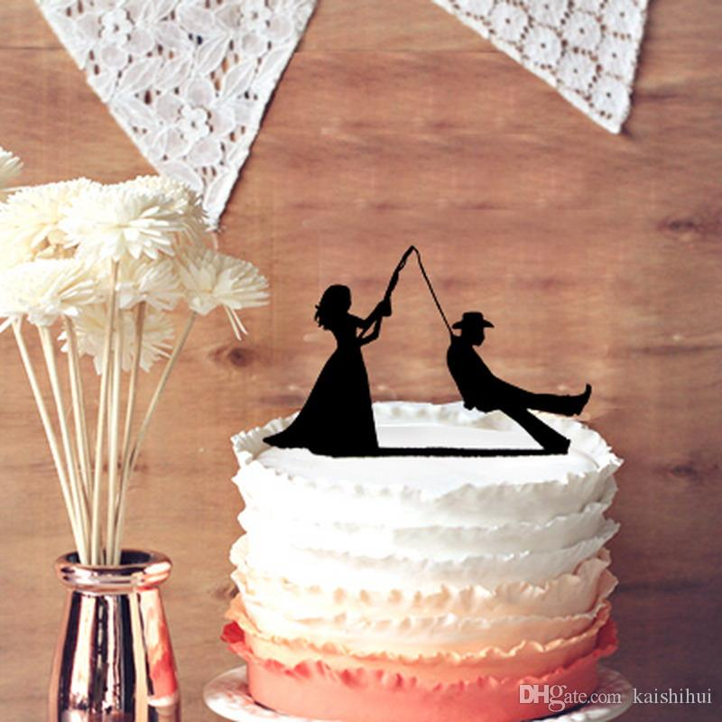 8ab645b09993c Wedding Cake Topper - Fisher Bride and Groom Silhouette for Rustic Wedding  Cake Decoration, Cake Toppers for Wedding Decorations