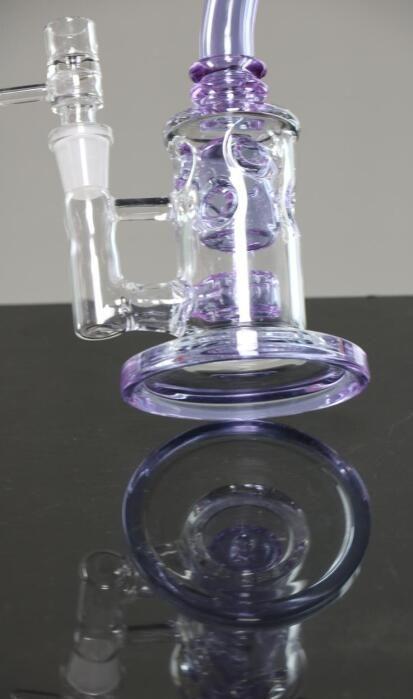 20cm 높이 보라색 유리 봉수와 일치하는 그릇 조인트와 물 파이프 14.4mm 헤드 샤워 Perc 흡연 파이프 겸손한 재활용 기름 장비 유리 봉