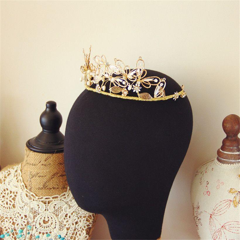 Vintage Wedding Hair Accessories Bridal Headpiece Gold Crystal Rhinestone Headband Jewelry Butterfly Headdress Princess Queen Prom Jewelry