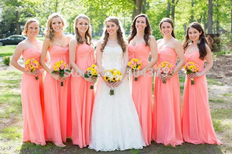 2016 Coral Long Bridesmaid Dresses Sweetheart Pleats Draped Chiffon Country Beach Bridesmaids Formal Wedding Party Dress Custom Made