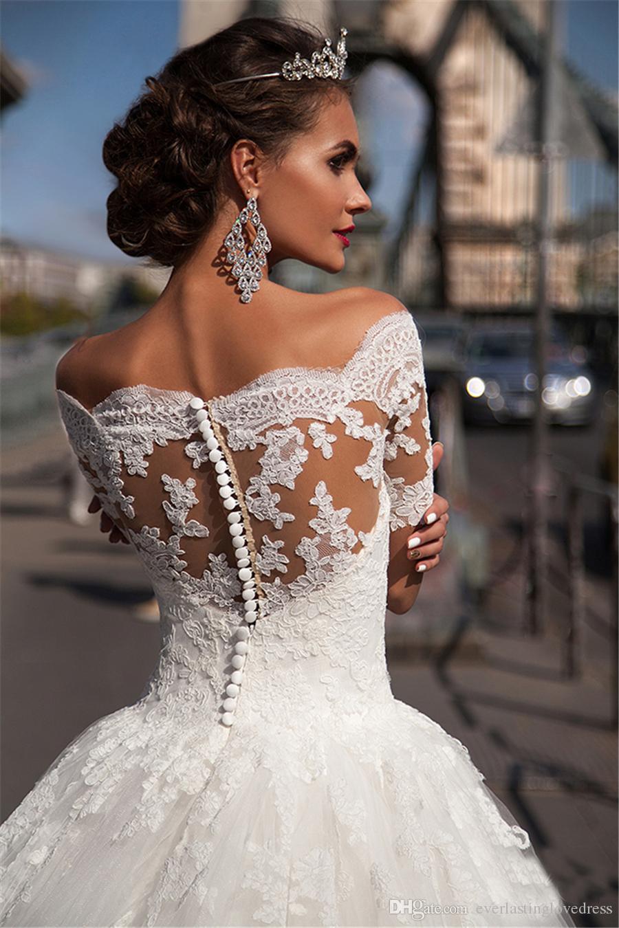عالية الرقبة قصيرة الأكمام الرباط الأصل زين الكرة أثواب الزفاف اليد اللباس التعادل زر العودة فستان الزفاف vestidos noivas الفقرة