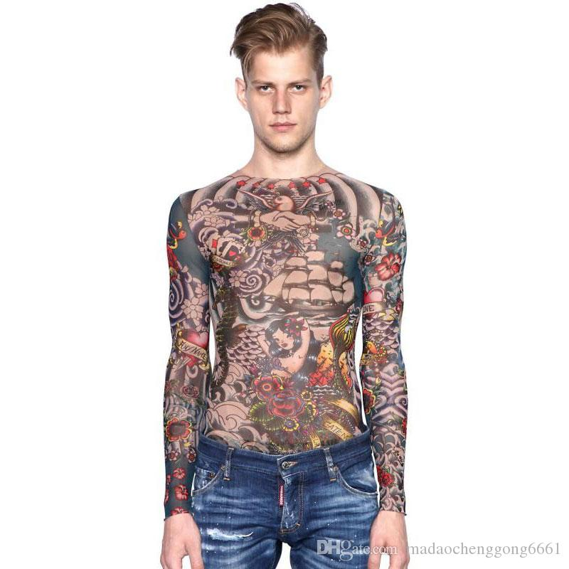 Online cheap hot sale full body tattoo long sleeve flower for Tattoo t shirts wholesale