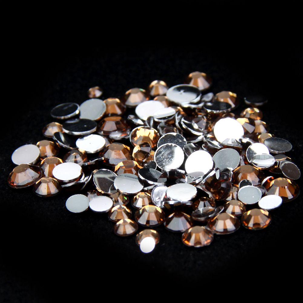 Champagne 1000pcs Resin RhinestonesBeads Flat Back Diamante Nail Art Craft Gems