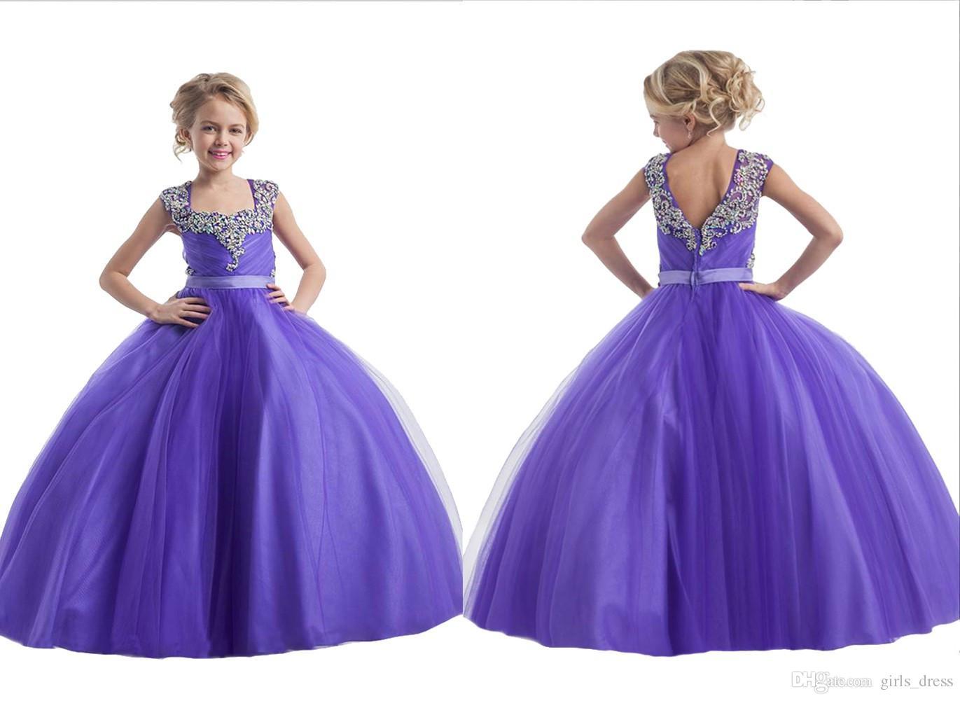 Compre Sweet 2016 Púrpura Girl Pageant Vestido Kid Glitz Ball Gowns ...
