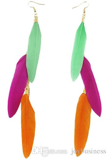 Feather Earrings wholesale Kinds Golden Chain Multi-Color Light Dangle Eardrop Black White Gray Pale Pink Turquoise JF135