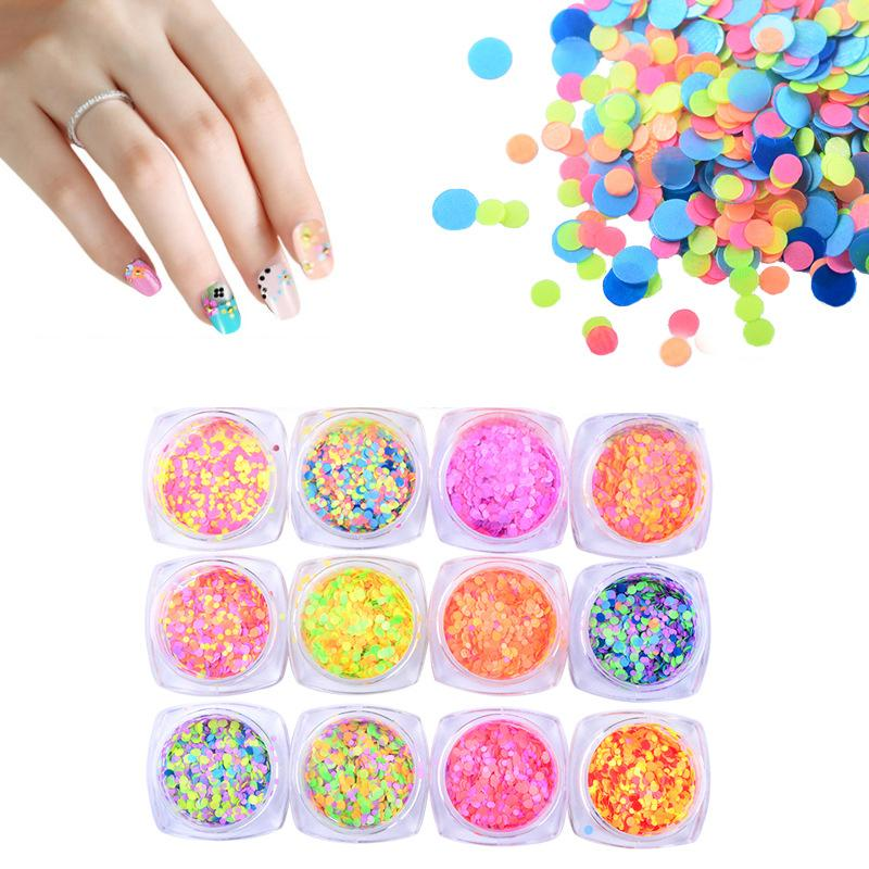 Candy Color Fluorescent Nail Sequins Shiny Colorful Round Glitter