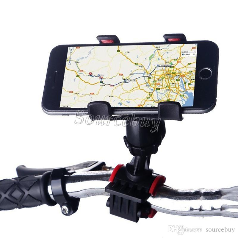 Universal Cell phone Holder Dual Clip Motorcycle Bike Mount Stand Flexible Holder For Smart phone Handlebar 360 Degree Rotating Free DHL