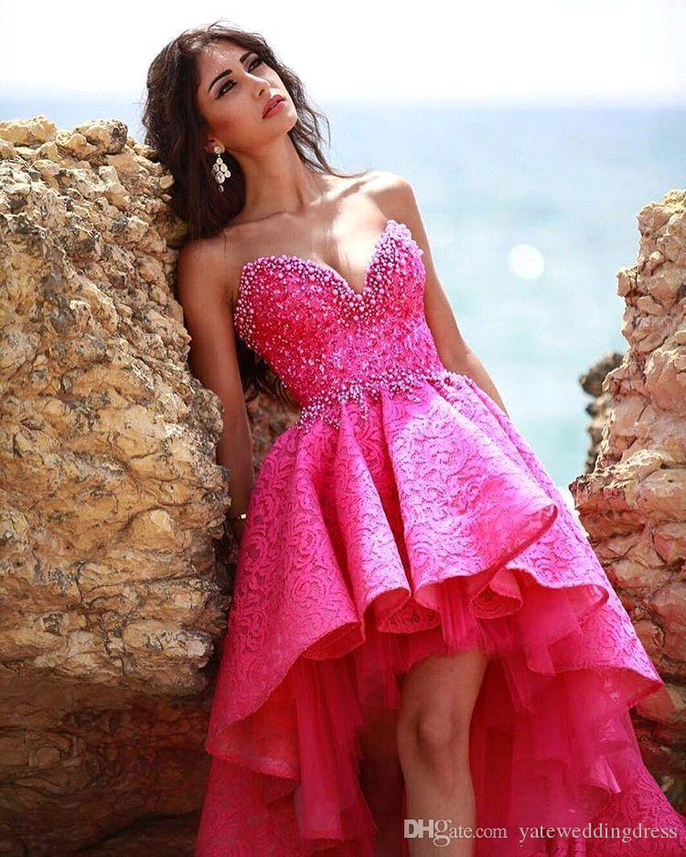 High Low Prom Dresses Sweetheart Sleeveless Embroidery Applique Evening Gowns Back Zipper Ruffle Custom Made Vestidos De Noiva 2016 Cheap