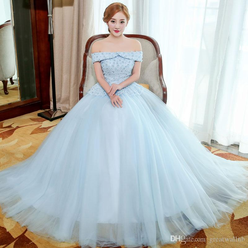 8d35d8fcb2ff 100%real Light Blue Flower Beading Ball Gown Queen Gown Medieval Dress  Renaissance Gown Royal Victorian Dress/Princess Cosplay Belle Ball Costumes  For Six ...
