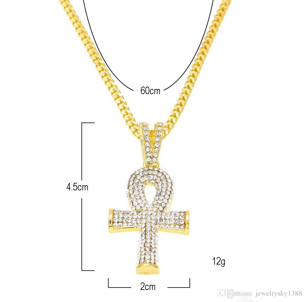 Hip Hop Gold Plated Cross Necklace Mens Full Iced Out Crystal Egyptian Ankh Key Pendant Necklace With 24'' Cuban Chain