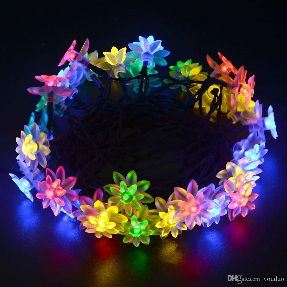 Solar Outdoor Christmas Lights.Solar Outdoor String Lights 19 7ft 30 Led Lotus Flower Solar Powered Fairy Lights For Garden Fence Path Landscape Decoration