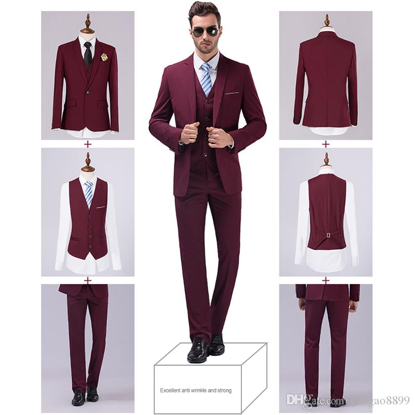 Jackets Vest Pants New Burgundy Black Men Suits Slim Fit Tuxedo ...